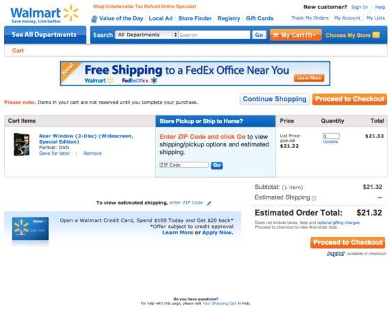 Walmart checkout page