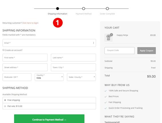 Checkout Sample form